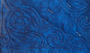Elizabeth quilted, water-soluble thread still in