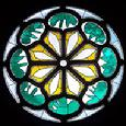 The rose window by Henri Matisse in Union Church of Pocantico Hills, New York